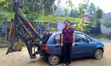 Best out of waste: ISRO engineer turns an old car into an excavator