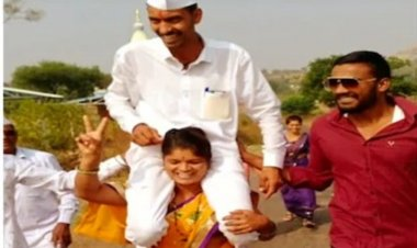 Pune woman carries husband on shoulders to celebrate victory in  panchayat polls