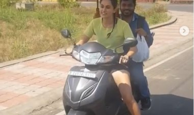 'Looop Lapeta': Taapsee Pannu enjoys a scooty ride from the shoot location to her vanity van in Goa