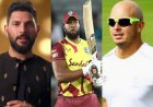 Yuvraj Singh, Herschelle Gibbs react after Kieron Pollard hits six sixes in an over
