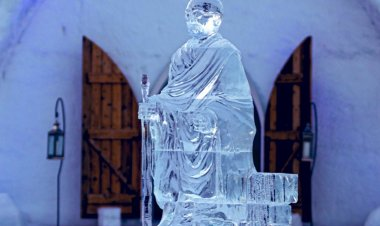 Canadian hotel installs ice sculpture of Mahatma Gandhi for India's 75th Independence Day